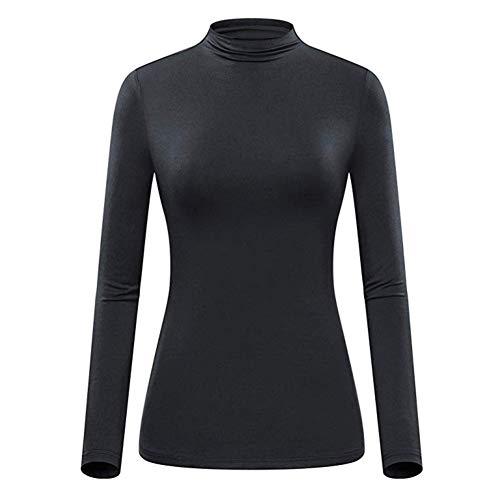 Bluelucon 2018 Damen Kleidung,Plus GrößE Frau Mode Solide Gerafft Lange DarüBer Falten Halsband Tunika IrreguläR Oben Bluse Oberteile Pullover