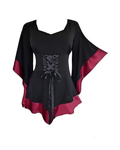 Saoye fashion costumi carnevale donna costume medievale the vampire camicia scampanato rotondo ragazze giovane collo attraversare cinghie colori misti magliette vestiti di carnevale camicie