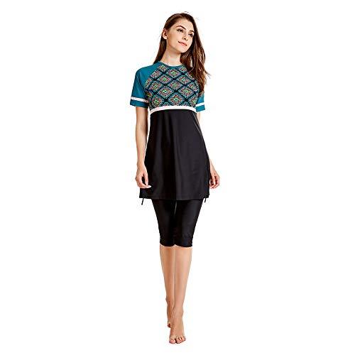 en Elegant Muslimische Frauen Strandkleid Bescheidene Badebekleidung Islamisches Kurzarm-Top + Hosen Badeanzug Lang Maxikleid Vintage ()