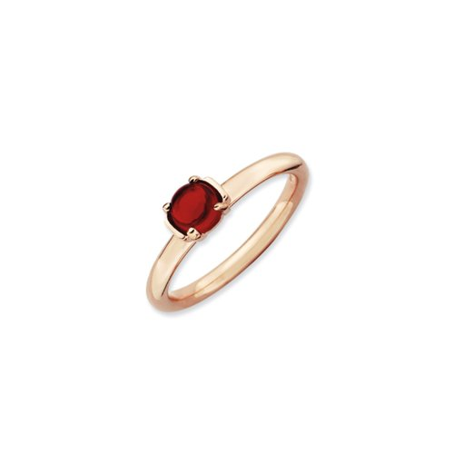 Black Bow Jewellery Company : 14k Rose Gold Plated Sterling Silver & Garnet 5mm Round Cabochon Ring