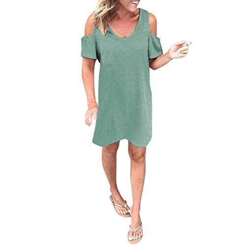 iHENGH Damen Frühling Sommer Rock Bequem Lässig Mode Kleider Frauen Röcke beiläufige kalte Schulter Kurzarm Minikleid Abend Party Kleid