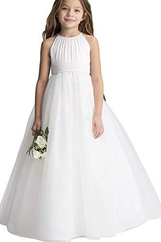 MisShow Mädchen Rundhals Prinzessin Blumenmädchenkleid Tüll Festliche Kleider für Hochzeit Chiffon Ballkleid Gr. 10-11 Jahre