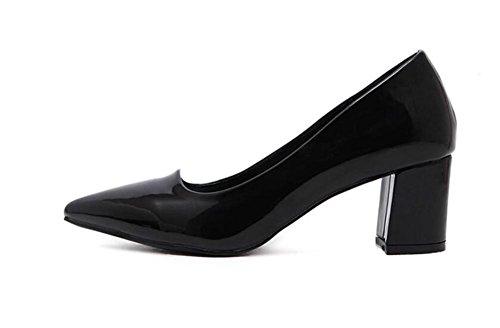 LDMB Spitzes Zehe-flacher Mund der Frauen mit einzelnen Schuhen dick mit Absatz-Schuhen Black