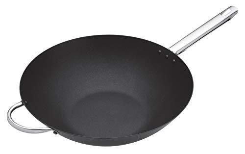 Master Class Induktionstauglicher großer Professional Carbonstahl-Antihaft-Wok, Stahl, Schwarz, 35.5 cm