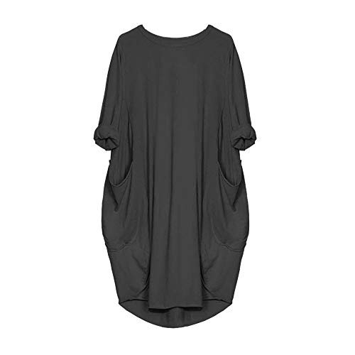 VEMOW Damenmode Tasche Lose Kleid Damen Rundhalsausschnitt beiläufige Tägliche Lange Tops Kleid Plus Größe(X1-x-Dunkelgrau, 48 DE/XL CN)
