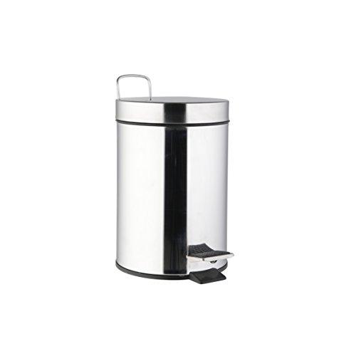 Ribelli Treteimer 5 l silberner Mülleimer ALS Abfalleimer Kosmetikeimer für Badezimmer + Küche aus Edelstahl rostfrei matt mit Deckel + Kunststoffeinsatz (Badezimmer Mülleimer Mit Deckel)