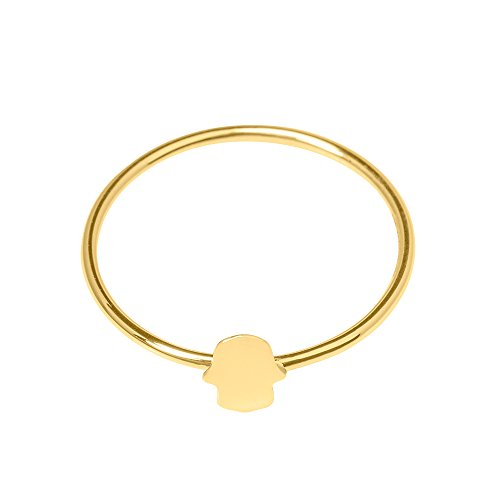 Fatimas Hand Ring - Ringe für Damen by Tesho's © Echtgold Schmuck Gold dezent Mädchen 585/14k (14 Karat (585) Gelbgold, 54 (17.2)) (Dinge, Die Mädchen Gerne)