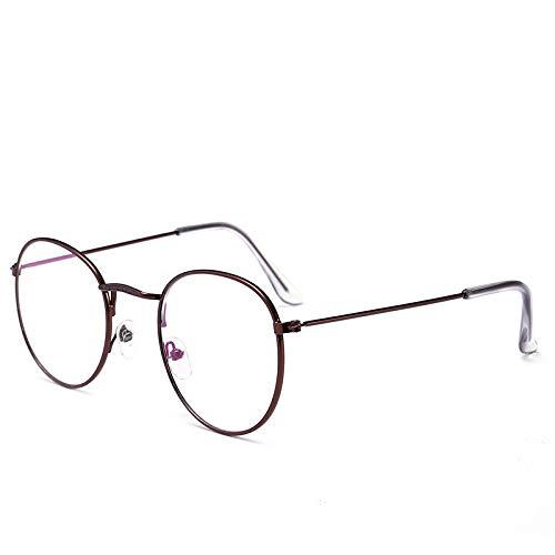 Yangjing-hl Retro-Sonnenbrille mit rundem Rahmen, Farbfilm, Zheng Shuang, Kupferminen-Sonnenbrille, Kleiner Rahmen, Mehrfarbig, Tea Frame Flat Mirror, Einheitsgröße
