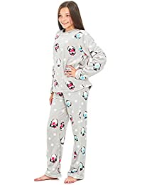 d1cdabc53744b Girls Penguin Snuggle Fleece Pyjamas Lounge Winter PJ's Size UK 7 8 9 10 11  12
