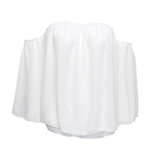 AmazingDays Chemisiers T-Shirts Tops Sweats Blouses,Femme Pull à Manches Longues T-Shirt Off Épaule Blouse Occasionnelle white