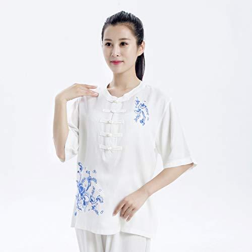 YXLONG Bequem Atmungsaktiv Tai Chi Anzug Meditations Anzug Kampfsport Kleidung Kung FU Weibliche Stickerei Sommer Leinen (Bombe Anzug Kostüm)