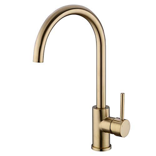 TRUSTMI Messinghahn Einhand-High Arc-Küchenspülenarmatur Schwenker C-Auslauf, Gold gebürstet (Hebel Griff Bad)