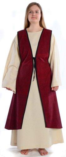 HEMAD Mittelalter Überkleid zum Schnüren dunkelrot Mittelalterliches Kleid (Templer Kleidung)