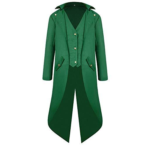 OHQ Herren Gothic Jacke Frack Steampunk Vintage Viktorianischen Langer Mantel Kostüm Cosplay Kostüm Smoking Jacke Uniform (Grün, ()
