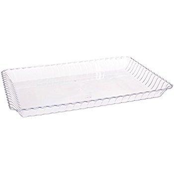 Confezione da 6elegante rigida plastica piatti/portata/vassoio-usa e getta/riutilizzabile-22,9x 33cm (23x 33cm) clear