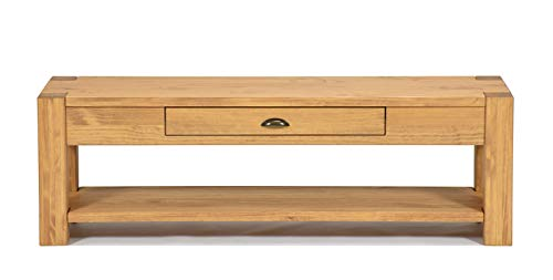 Naturholzmöbel Seidel Lowboard 160x38cm Höhe 55cm mit Schublade und Ablageboden Massivholz Sideboard Konsole Anrichte TV Board Wandtisch, Rio Bonito Pinie Massiv Honig Hell (Höhe 55cm, Pinie)
