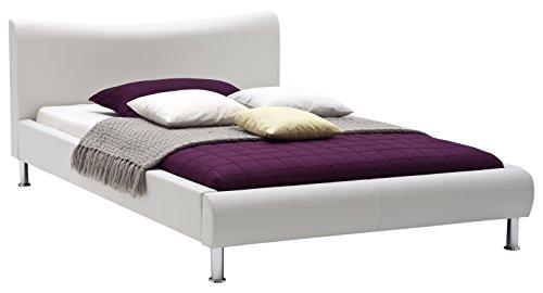 sette notti Polsterbett Bett 140x200 Weiß, Kunstleder Bett Liegefläche 140x200 cm, River Art Nr. 502-10-30000