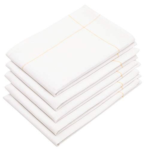 ZOLLNER 5er Set Geschirrtücher Baumwolle/Leinen weiß, Größe ca. 45x65 cm