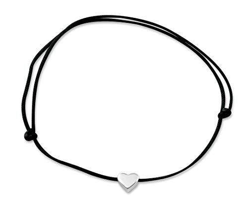 Nuoli® Herz Fußkettchen Silber (deutsche Handarbeit) mit schwarzem Textil Band für Frauen, Fußkette Größenverstellbar