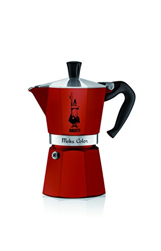 Bialetti – Moka Color – Caffettiera Italiana in Alluminio, Alluminio, Bordeaux, 6 Tasses