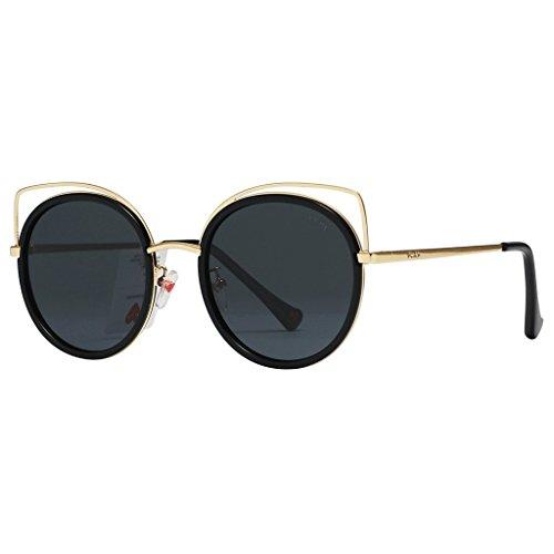 HUACANG Frauen Sonnenbrille, Klassische Twin-Beams Metallrahmen Cat Eye Spiegel Gläser, Polarisierte Wayfarer Cat Eye Oversized Sonnenbrillen für Frauen (Farbe : Schwarz)