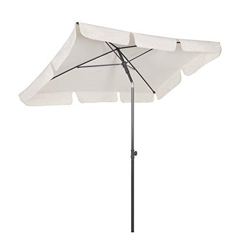 Sekey - ombrellone parasole quadrato, protezione solare uv 50+, 200 x 125 cm, colore: crema