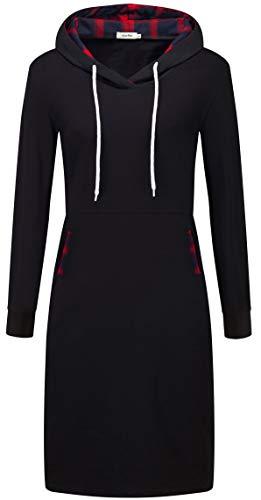 KorMei Damen Langarm Hoodie Bodycon Stretch Sweatshirt Midi Kleider mit 2 Taschen SchwarzRot XL