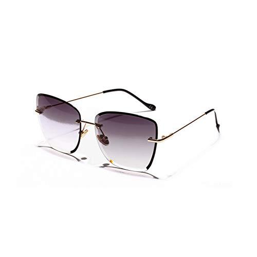 CCGSDJ Eckige Randlose Sonnenbrille Frauen Klarglas Retro Rahmenlose Sonnenbrille Für Frauen Braun Blau