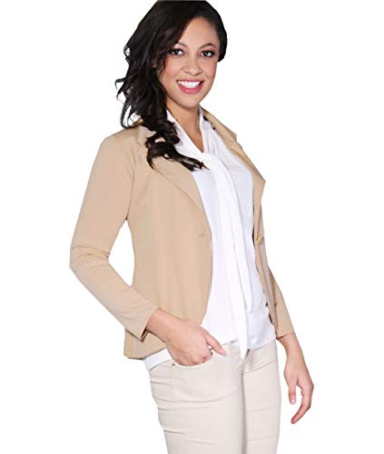 KRISP Smart Casual Stoff Fashion Blazer (Sandstein, Gr.42) (3558-STN-14) Beige Damen-jacke