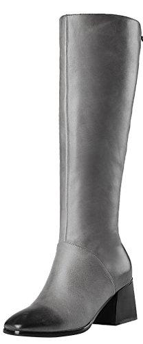ELEHOT Donna Eleoutside, tacco a blocco 6.5CM Leather Stivali, grigio, 37