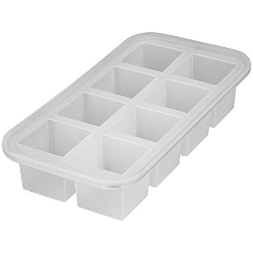 Levivo Silikon Eiswürfelform für 8 Eiswürfel á 5 x 5 x 5 cm, Antihaft Eiswürfelbehälter, Eiswürfelsilikonform, Silikoneiswürfelform, Eiswürfel Form Silikon, Eiswürfelbereiter Semi transparent, Eisform