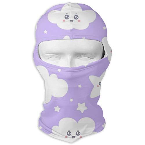 Sitear Nahtlose Lila Lächelnde Sterne Und Wolken Personalisierte Vollmaske Hood Neck Warm Für Männer Und Frauen Outdoor Sports Windproof Sunscreen