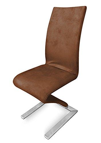 SAM Freischwinger Stuhl SAM - 2175 in Wildleder Optik Fuß Edelstahl modernes geschwungenes Design...