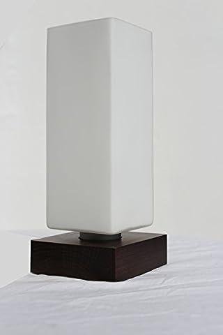 § § Tischleuchte, Büro, Nachttisch, anzubringen. Modernes Design aus Holz massiv Mahagoni. Lampenschirm-Glas weiß und gefrostet