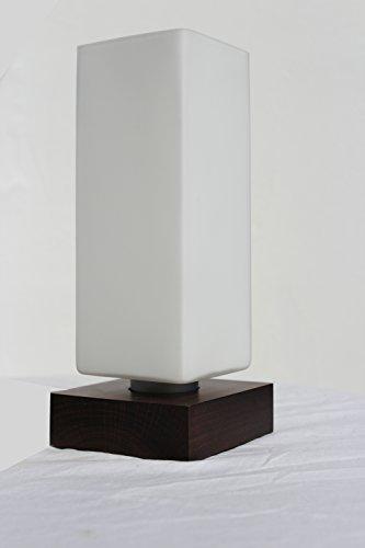 §§ Lampe de Table, Bureau, Chevet, à Poser. Design Contemporain en Bois Massif en Acajou. Abat jour - Verre blanc et givré