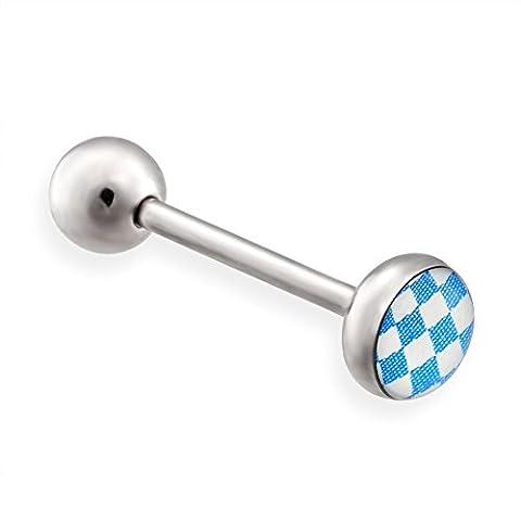 MsPiercing Checkered Logo Tongue Ring, 14 Ga, Blue