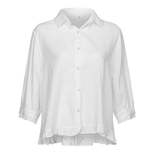 Whycat T-Shirt für Frauen beiläufige Spitze Knopf drehen unten Kragen mittlere Hülse Normallack-Spitzenbluse ()