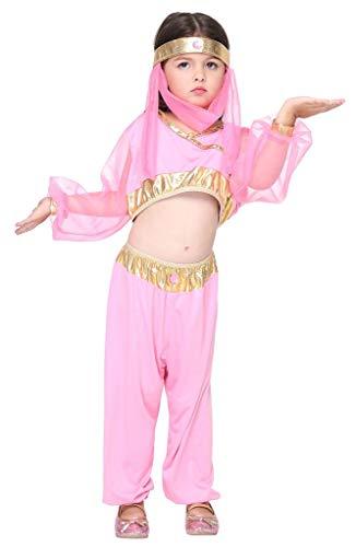 Tanz Indien Kostüm - YiyiLai Liebe Indien Stil Kind Mädchen Tanz Kostüm Halloween Party Kleid Rosa L