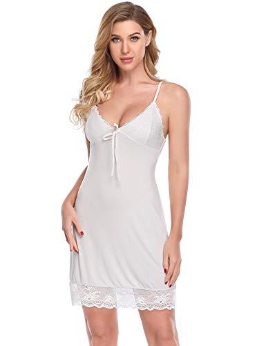 Sexy Mutterschaft Dessous (Lusofie Damen Sexy Nachthemd Chemise Satin Full Slip Dress Dessous Nachtwäsche (799 Weiß, L))