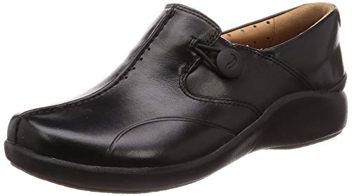 Clarks Un.loop2 Walk, Mocasines para Mujer, Negro Black Leather Black Leather, 41 EU