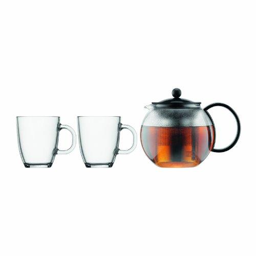 Bodum K1805-01 Assam Set, Teebereiter mit Edelstahlfilter 1 L und 2 Stück Tasse, Glas, 0,35 L, schwarz (1 2 Tasse Glas)
