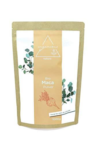ingenious nature® Laborgeprüftes Bio Maca Pulver 1000g - von der roten Maca Wurzel - 100% rein, ohne Zusätze, roh, aus Peru. Angebaut auf über 4400m. Vorrat für 200 Tage. -