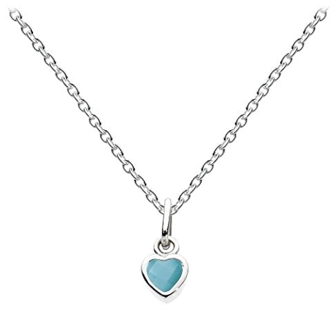 Dew Women's Sterling Silver and Turquoise Heart Necklace of Length