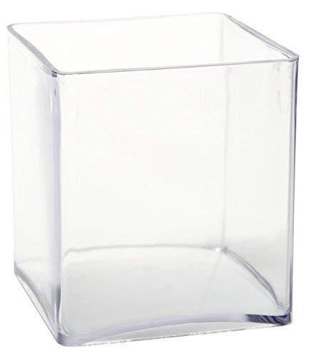 Inerra 15cm Transparent Acryl Würfel - Schreibwaren Stift Kanne/Orchidee Blumenvase/Kaffee Pod Aufbewahrung - Durchsichtig, Pack of 2 Cubes - Glas-cube-bild