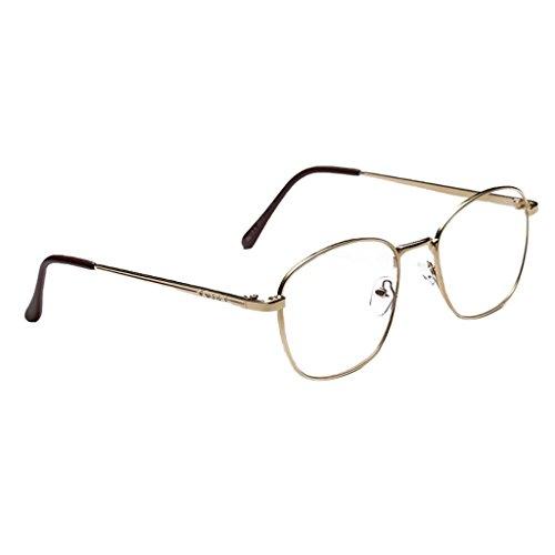 MagiDeal Metall Frame Runde Brille Retro Metall Klare Linse Brille Nerdbrille Metallrahmen...
