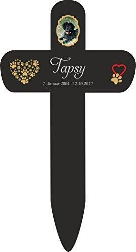 Personalisiertes Grabkreuz Grabschmuck Grabstecker Kreuz fürs Tier Haustier mit Name Datum und Foto (Motiv 8, schwarz)