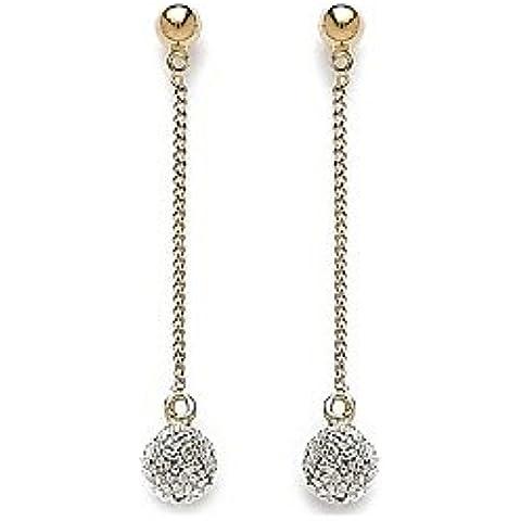 MARY JANE-Pendientes chapados en oro mujer 6 mm-Ancho: %2F altavoces: 40 mm, chapado en oro () forma de bola