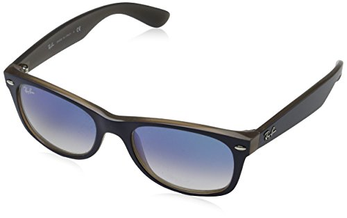 Ray-Ban Rayban Unisex-Erwachsene Sonnenbrille 2132 Matte Blue On Opal Brown/Cleargradientblue 52
