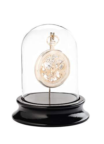 Dom in vero vetro con gancio - per conservare orologi da tasca senza polvere - base in legno con finitura nera (diametro interno 68 mm) - senza orologio da tasca - c324766