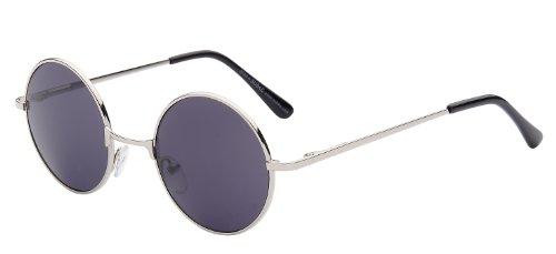 Sonnenbrille Nickelbrille mit runden Gläsern und Federscharnieren retro Art. 8058-3 Rahmen: silber, Gläser: schwarz